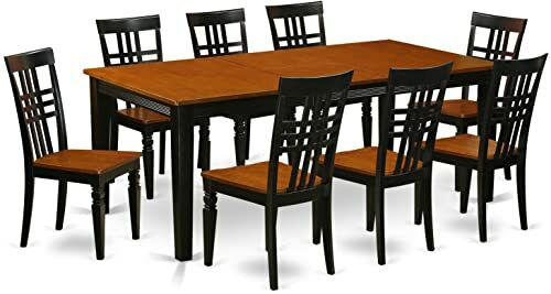 QULG9-BCH-W 9 PC Table set with a Dining Table and 8 Dining Chairs in Black...