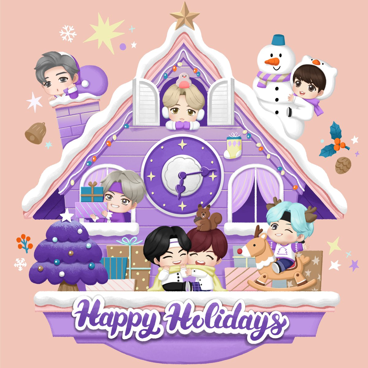 [#Behind_the_Magic_Door]  Tick..tock... Now it's time to charge your holiday spirit!   #TinyTAN #Purple_holiday #Holiday_mood