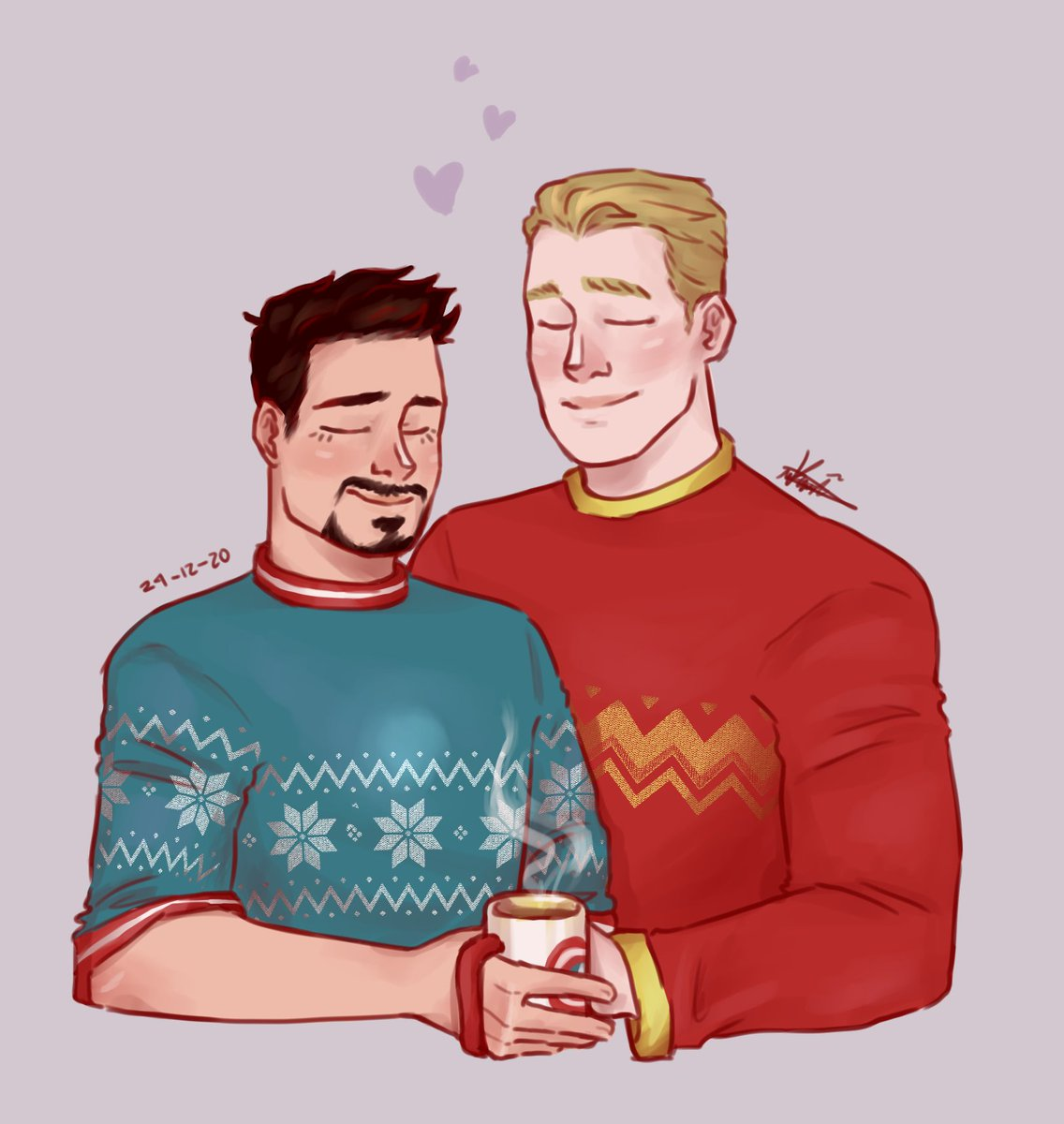 Mery Christmas and holidays to all of you!! ✨💖I hope you have a wonderful day! 🥺💙❤️ This is actually a redraw of my last year stevetony drawing and I wanted to remake it #stevetony #stony