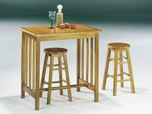 Acme Furniture Mission Oak Terra Cotta 3Pc Breakfast Table Stool Set...