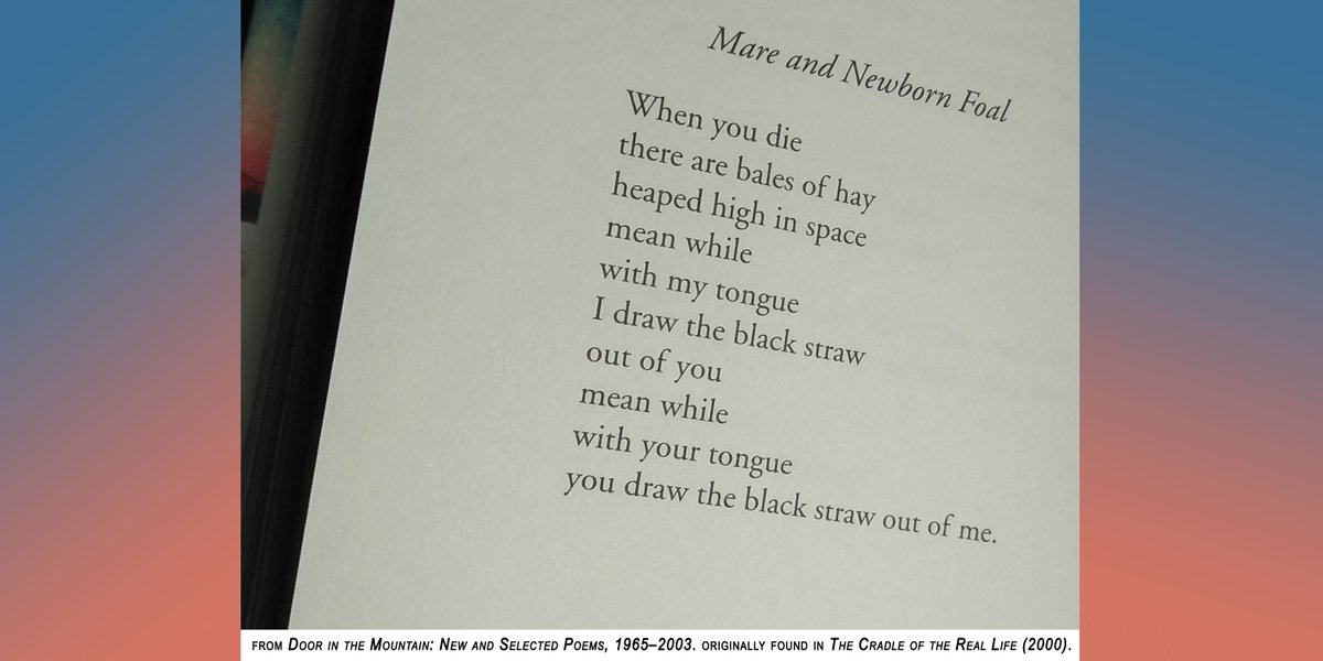 "test Twitter Media - ""Mare and Newborn Foal"" by Jean Valentine (1934–2020)  When you die there are bales of hay heaped high in space mean while with my tongue I draw the black straw out of you mean while with your tongue you draw the black straw out of me. https://t.co/xqDrf9RoaN"