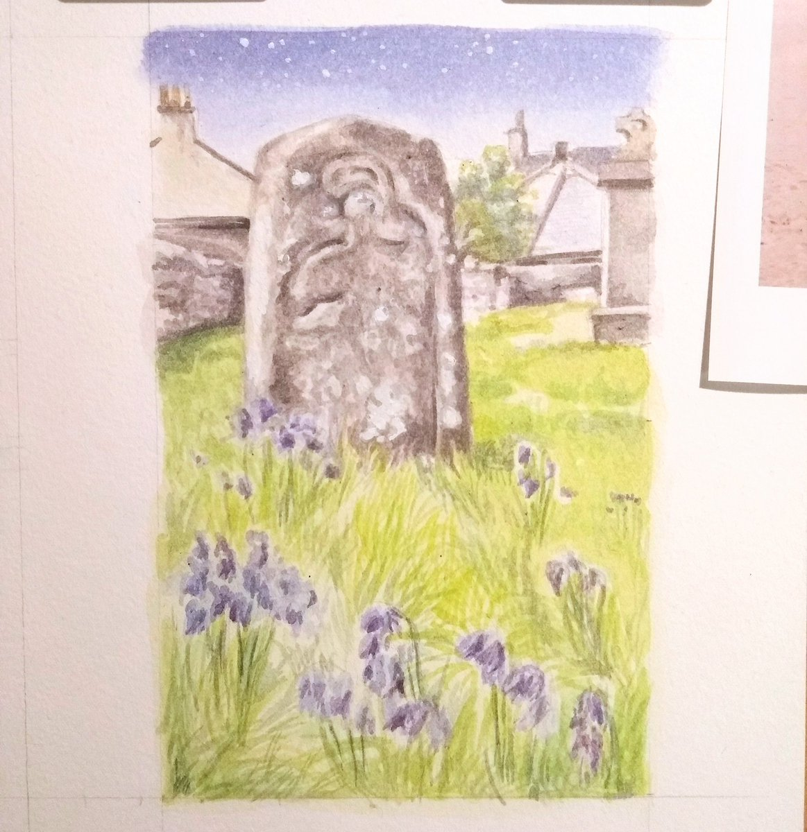 test Twitter Media - Small grave marker and bluebells. Oronsay Priory, Scotland. #watercolour https://t.co/3PYfhPsUev