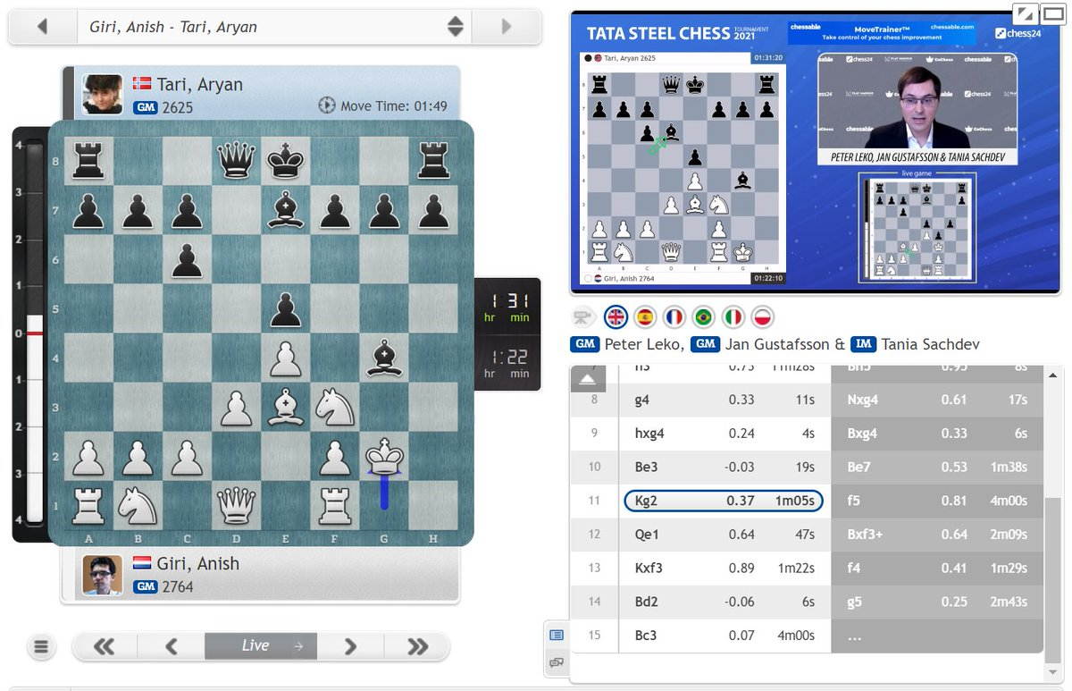 test Twitter Media - With 11.Kg2 Giri corrected a mistake Nakamura made against Carlsen in Lindores Abbey last year! https://t.co/nfTgoEy4fX  #c24live #TataSteelChess https://t.co/Kgx8D13qd6
