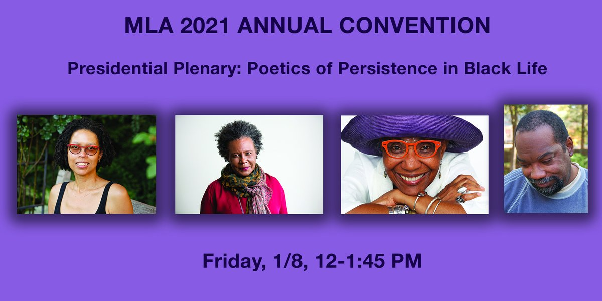 test Twitter Media - Attention #MLA21! Don't miss today's Presidential Plenary: Poetics of Persistence in Black Life w/ Claudia Rankine, Fred Moten, M. NourbeSe Phillip, Evie Shockley 1/8/21, 12PM #BLM #mla21 #blackauthors #blackexcellence #blackscholars #canadianpoets #caribbeanpoets #americanpoets https://t.co/UntXc6tuwD