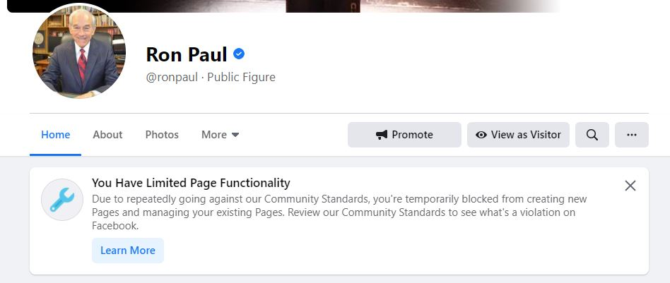 """With no explanation other than """"repeatedly going against our community standards,"""" @Facebook has blocked me from managing my page. Never have we received notice of violating community standards in the past and nowhere is the offending post identified."""
