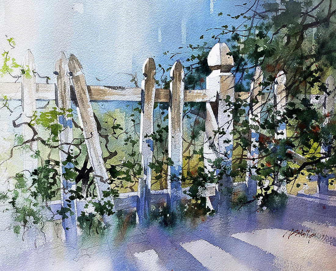 Old Fence. There are two sides to every divide - One in the Darkness, and one in the Light. #watercolor #divide #pleinair https://t.co/mMZswzAORb