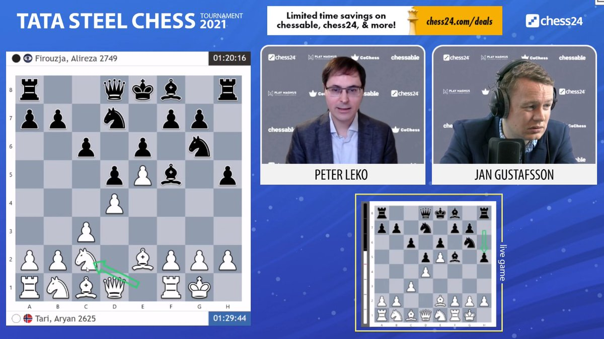 "test Twitter Media - ""This is very scary for Black!"" says Leko after Firouzja goes for the risky 8...h5!?  https://t.co/xEvwGFhmen  #c24live #TataSteelChess https://t.co/hg7SI8krbl"