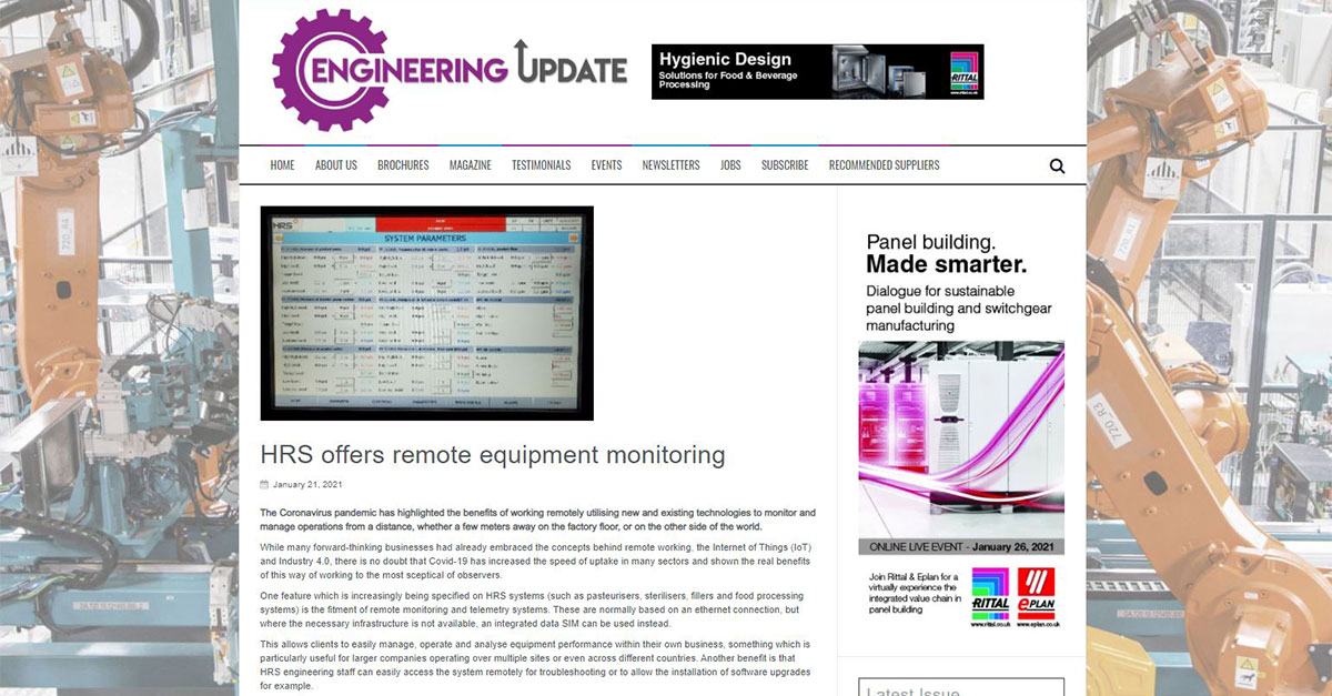 test Twitter Media - HRS is featured in @Engupdate on HRS offers Remote Equipment Monitoring. The pandemic has highlighted the benefits of working remotely utilising new and existing technologies to monitor and manage operations from a distance. Read more: https://t.co/aPuphc38lD #remote https://t.co/vZO2C5uVN2