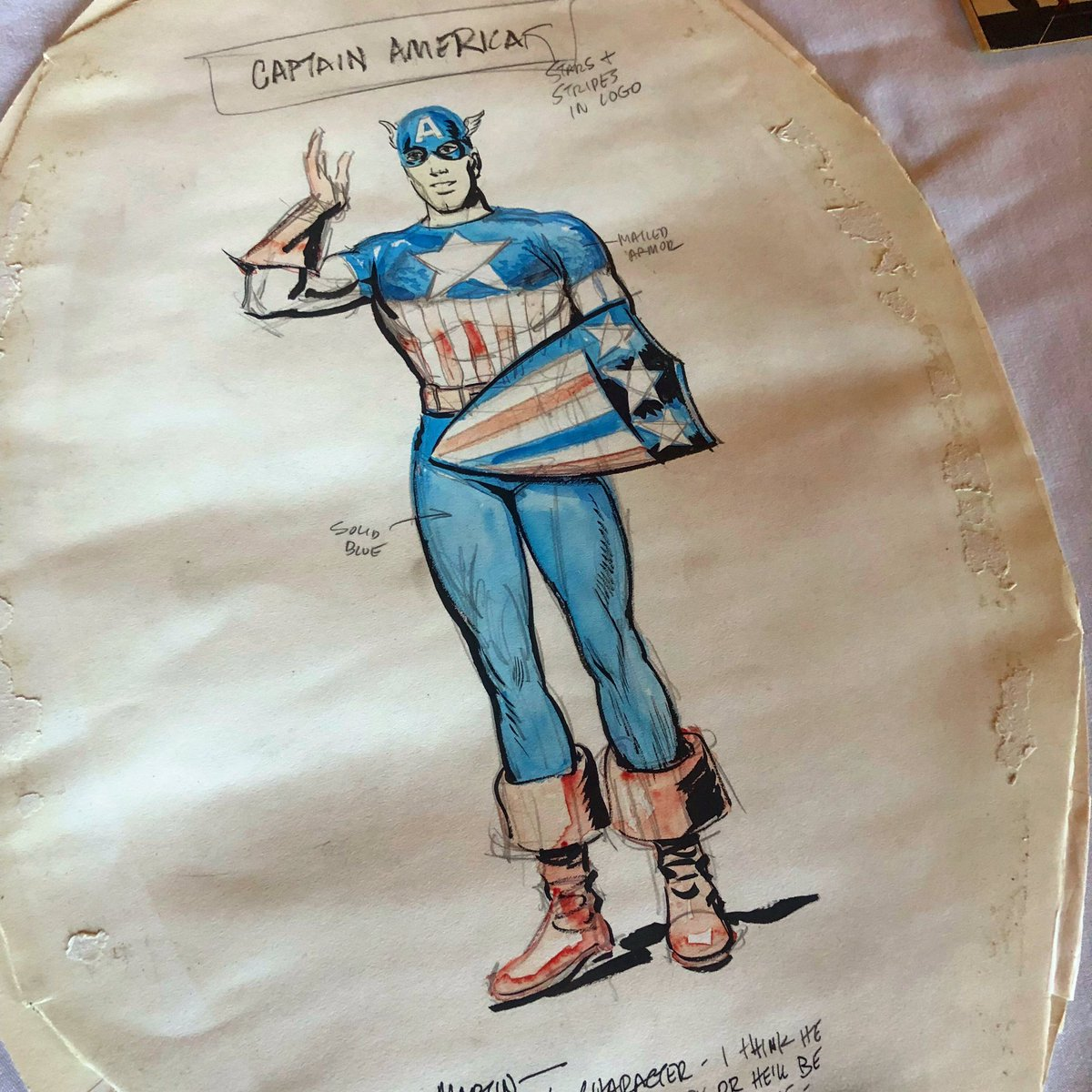 One of our favorite super heroes will be celebrating his 80th birthday this year. Captain America debuted in March 1941. From the @librarycongress collection: the original drawing by Joe Simon.    @ChrisEvans @Marvel @MarvelStudios #CaptainAmerica