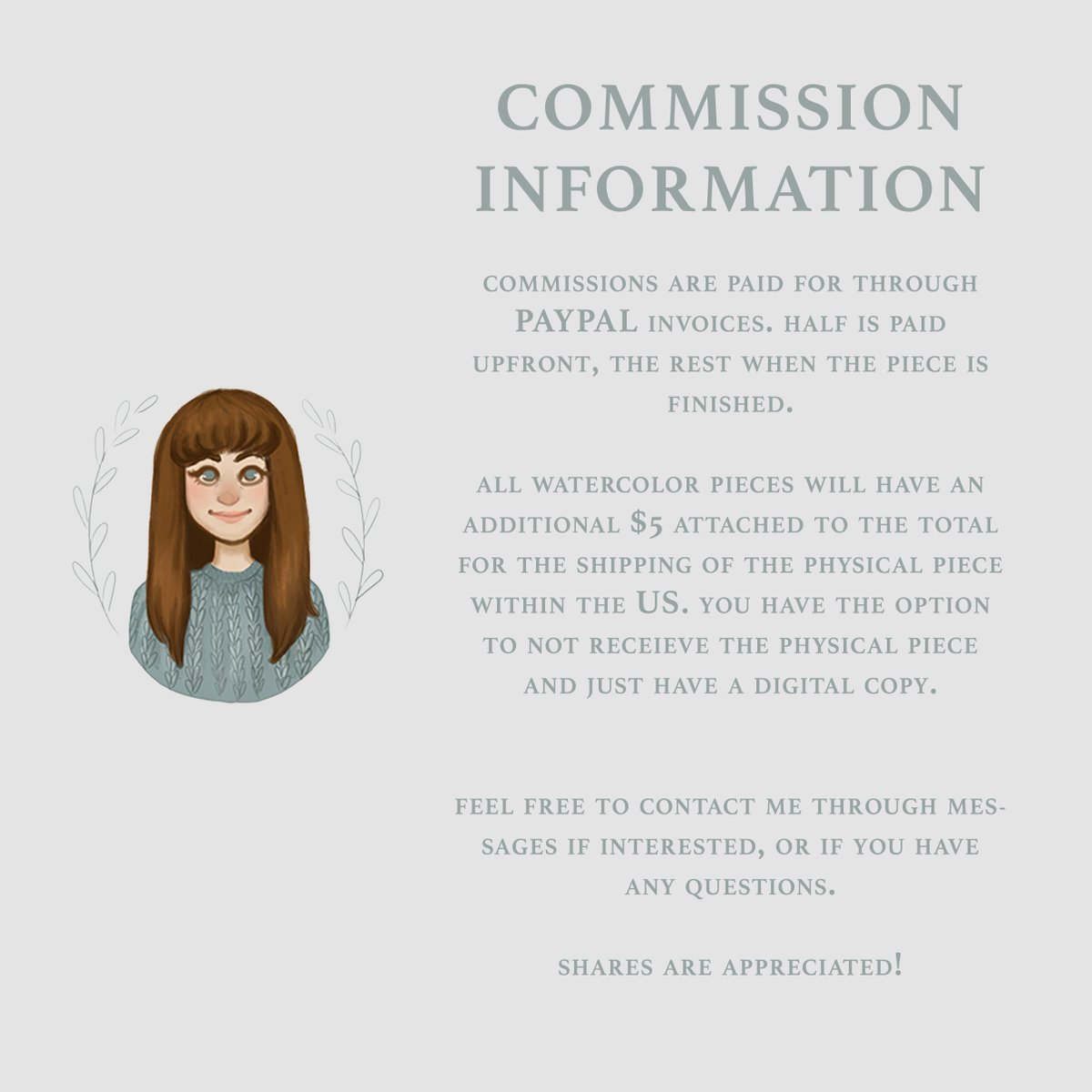 ✨COMMISSIONS INFORMATION✨  I currently have 5 SPOTS available! Message me if interested, or if you have any questions! Sharing is greatly appreciated!!   #commissionsopen