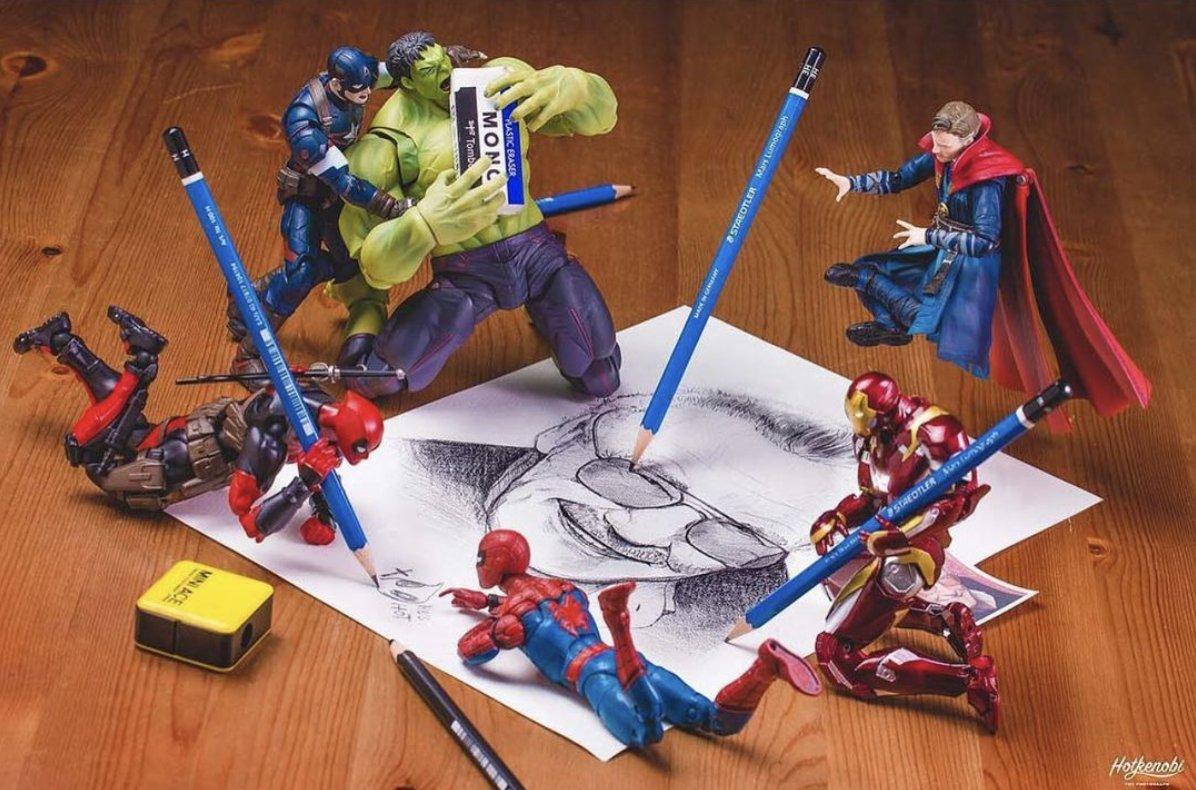 Superhero Tribute by @hotkenobi  #spiderman #hulk #drstrange #ironman #deadpool #marvel #marvelcomics #stanlee #avengers #comicbooks #actionfigure #actionfigures #toy #toys #toyohotography #funny #humor #lol #spiderverse #captainamerica