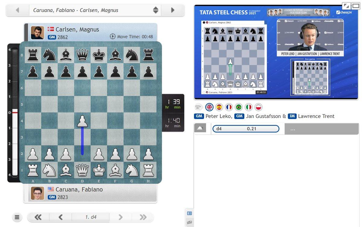 "test Twitter Media - ""1.d4 against Carlsen, that's news already!"" (Jan)  Caruana-Carlsen & the other games have begun: https://t.co/RIDyZC3cQ6   #c24live #TataSteelChess https://t.co/32ttMxhlvF"