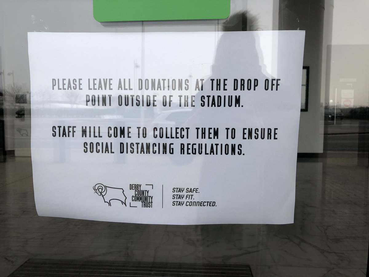 The Pride Park Food Hub continues to accept donations for local Derbyshire food banks 🥫  Your donations can be left safely outside the Pride Park Stadium Main Entrance on Thursday from 11am until 2pm 🏟  Our volunteers will be ready to safely collect from distance! 🖤