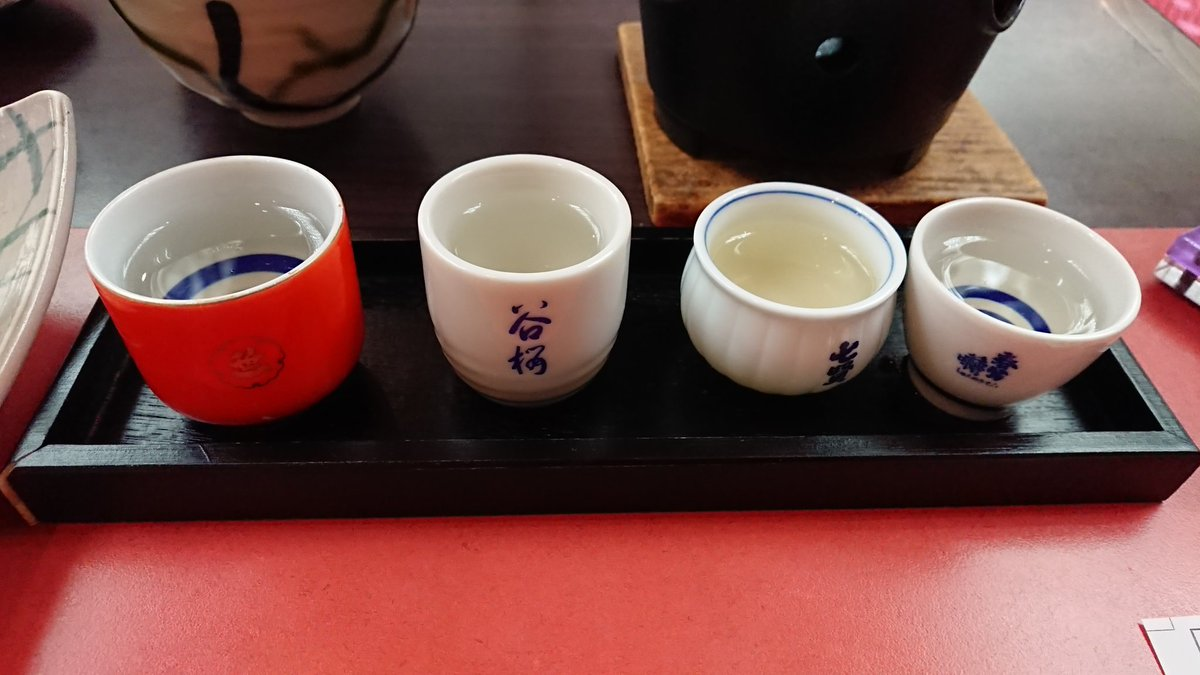 test ツイッターメディア - お酒は地酒の利き酒セットと、谷桜熱燗を頂きました。 この中では、笹一酒造の夢山水が好み。 https://t.co/GaZnHV47tu