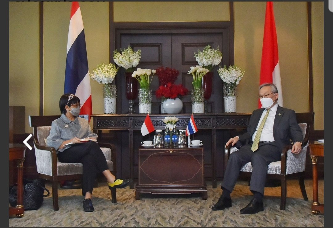 """#Thailand @MFAThai on DPM @fmdonpram meeting visiting #Indonesia foreign minister @Menlu_RI saying both agreed """"Myanmar is an important member"""" of #ASEAN & group serves as platform for constructive dialogue between Myanmar & other regional states #WhatsHappeningInMyanmar"""
