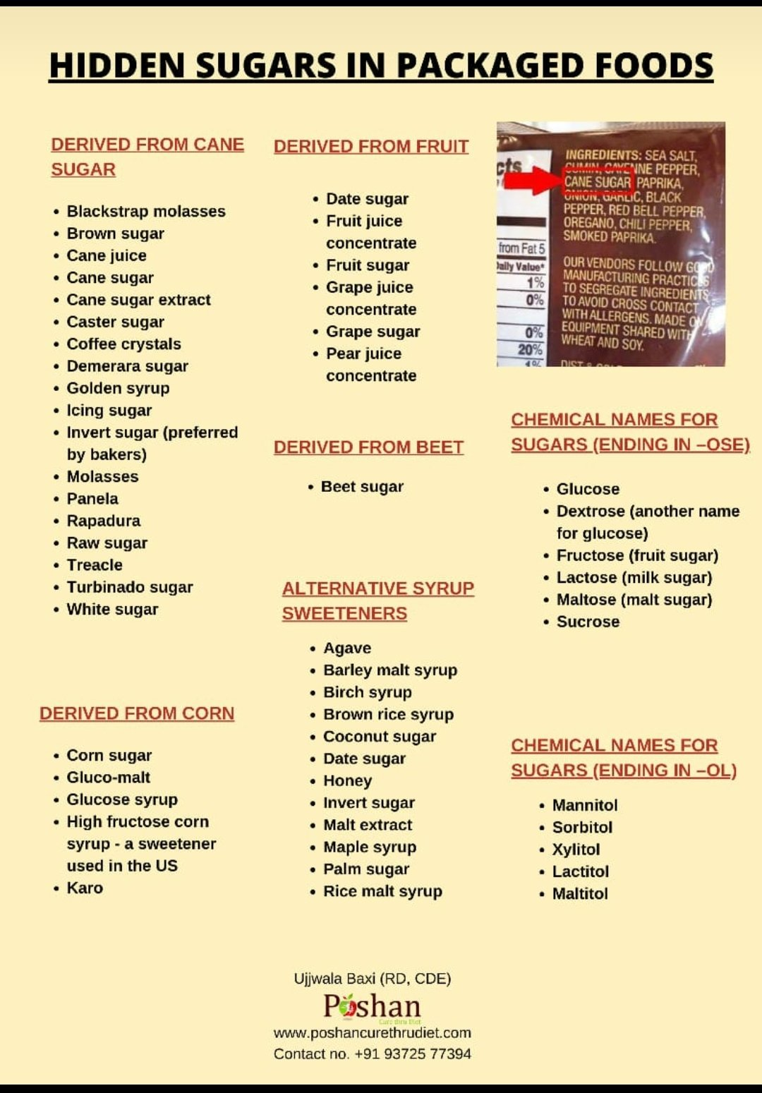 Food industry knows how to hide that sugar and use alternatives to make our taste buds wanting for more.. here's a list of sweetening agents commonly used in packaged foods. Do look for them when you are eating clean :) #sugarfree #diabetes #health #sugardetox @baxirahul https://t.co/OIJKKLUPNI