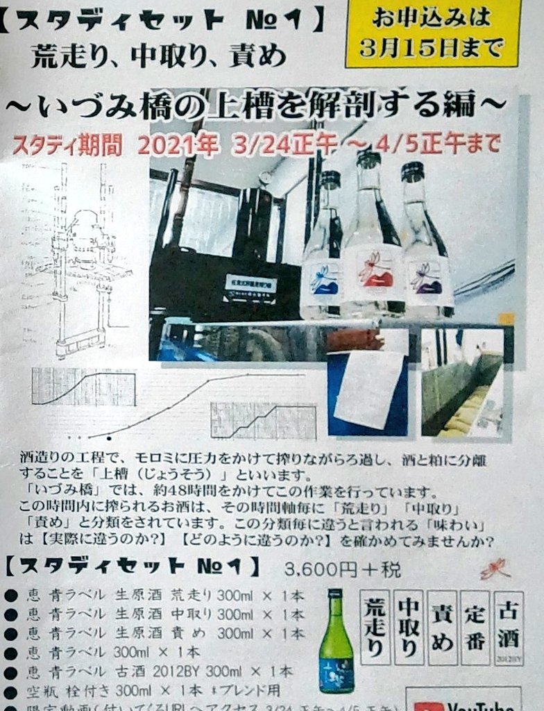 test ツイッターメディア - 泉橋酒造さんオンライン蔵開きに続いてのスタディセット、期待してます! https://t.co/Qo3eYDz1Xy