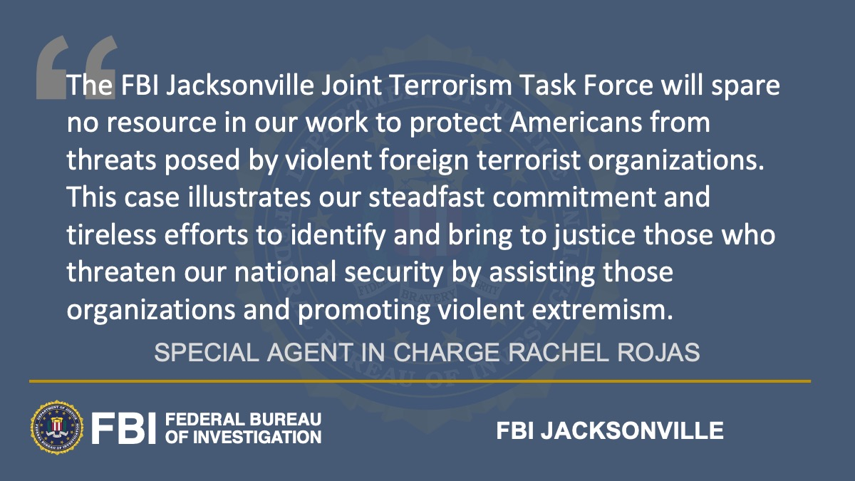 Former Florida Resident Indicted for Attempting to Provide Material Support to ISIS @FBIJacksonville