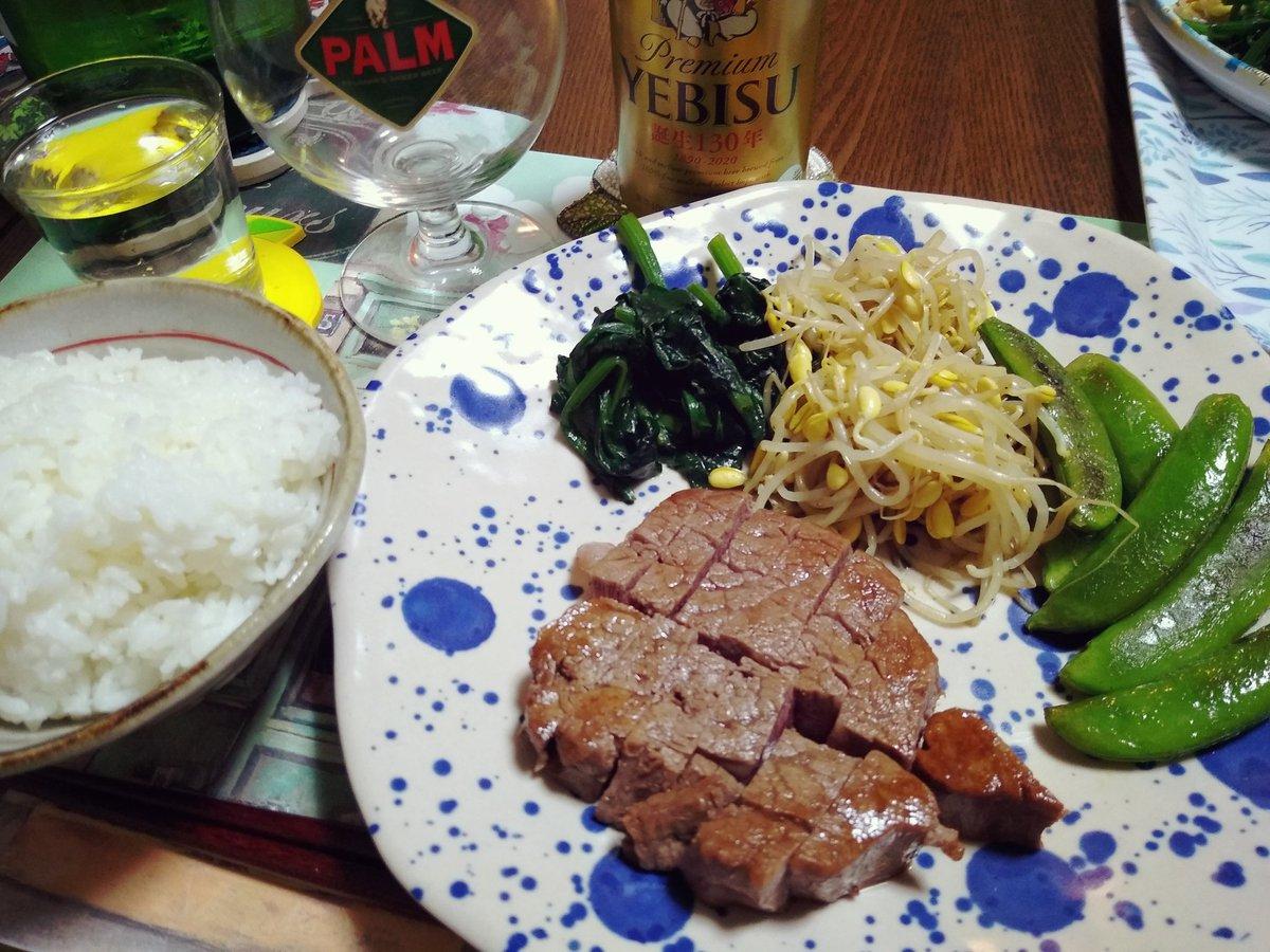 test ツイッターメディア - ある日の食卓🍖  はり重のヒレステーキと焼野菜。エビスに佐々木酒造🍶。鉄分が足りんわ〜。 https://t.co/JuIlfLH06r
