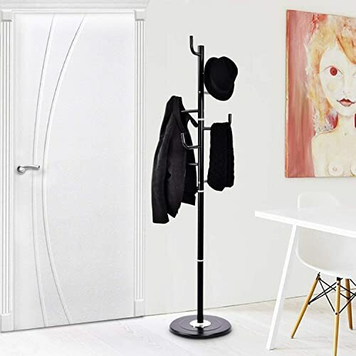Coat Rack Tree Stand Clothes Holder Hat Hanger Hall Stand Umbrella Wood Black...