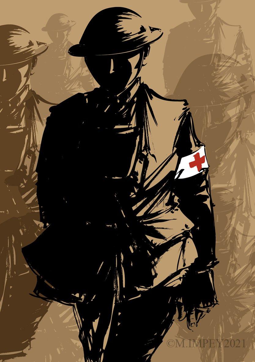 My graphic study of a soldier of the #RAMC #WW1. Follow for more art #wewillrememberthem @sommecourt @Barney065 @Taff_Gillingham @BVUKHistory @LandOfHistory @ProfPeterDoyle @NAM_London @USArmyMuseum @GreatWarGroup @TheWFA @FlandersWW1 @WW1_Education @CWGC @FoB_14_18 #warart #art https://t.co/pIHpjEa0e6