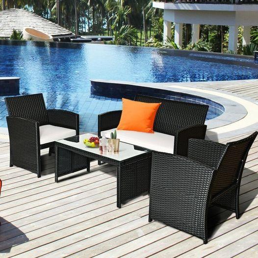 New Post: Tanga: 4 Piece Patio Rattan Furniture Conversation Set, Just...