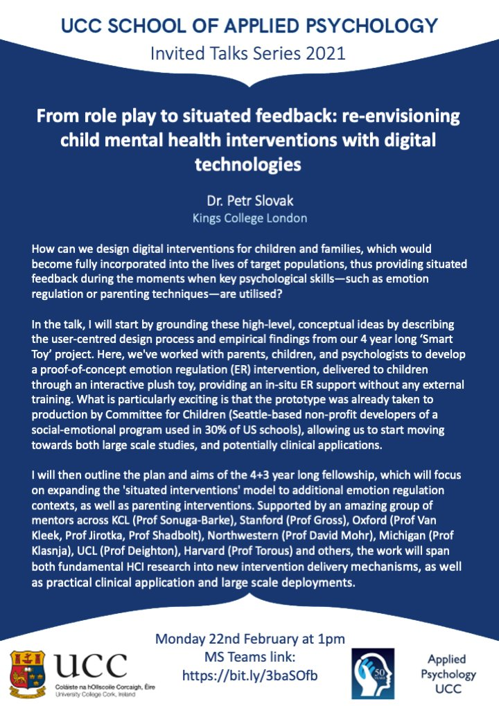 """test Twitter Media - Another very exciting research seminar next week, as Dr. Petr Slovak @ozzulak of @KingsCollegeLon and @oxhcai presents """"From role play to situated feedback: re-envisioning child mental health interventions with digital technologies"""" All welcome. Link: https://t.co/cAj6NfWAHv https://t.co/gn9oYjdJcC"""