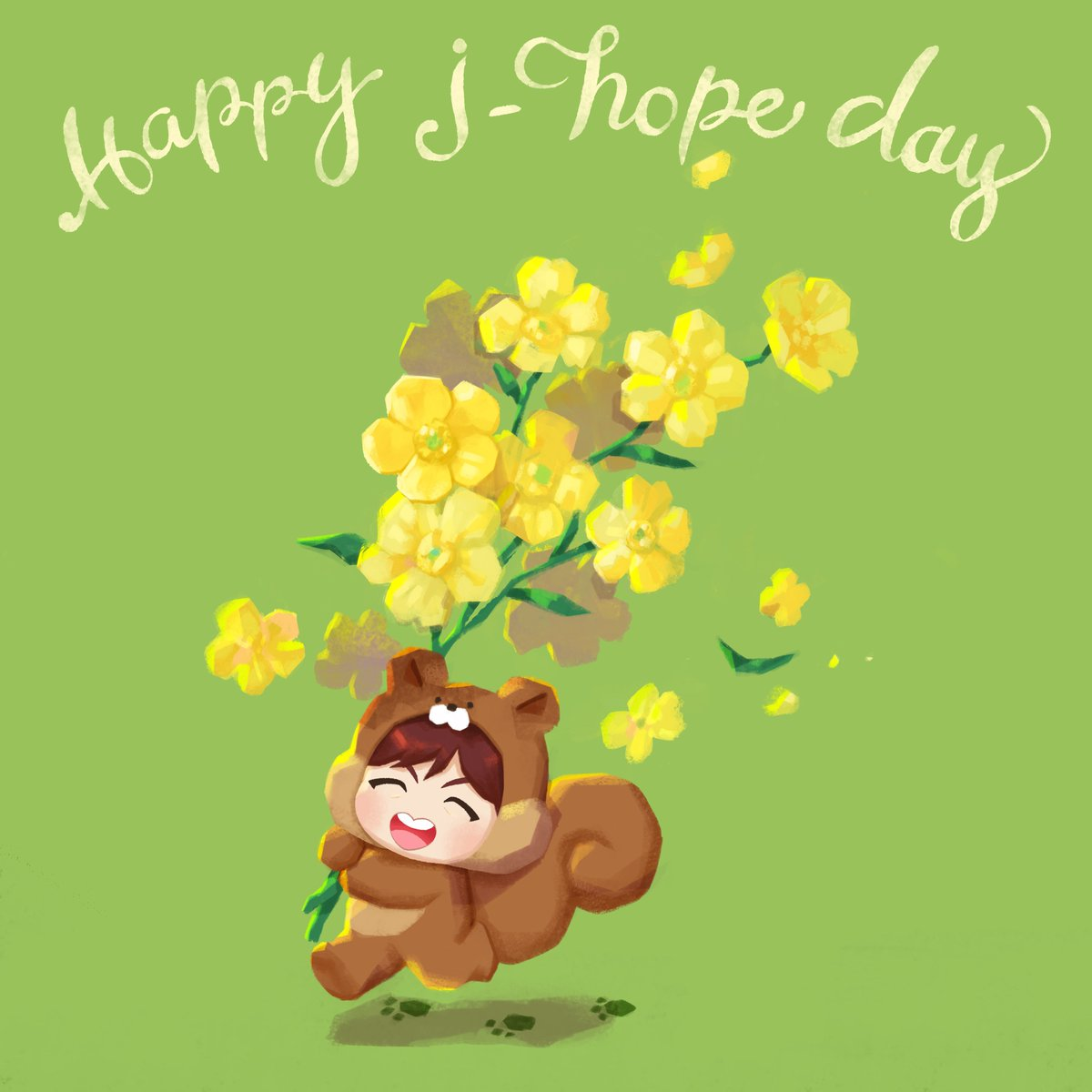 Come run with me! Today is filled with happy hope!!  #Happy_jhope_Day #TinyTAN #Birth_Flower #Buttercup