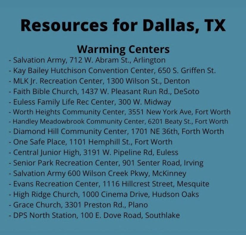 Some resources for those in Texas dealing with the cold right now!