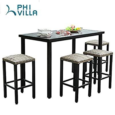 PHI VILLA 5 Piece Patio Bar Set, Slatted Metal Bar Table with Wood Grain...