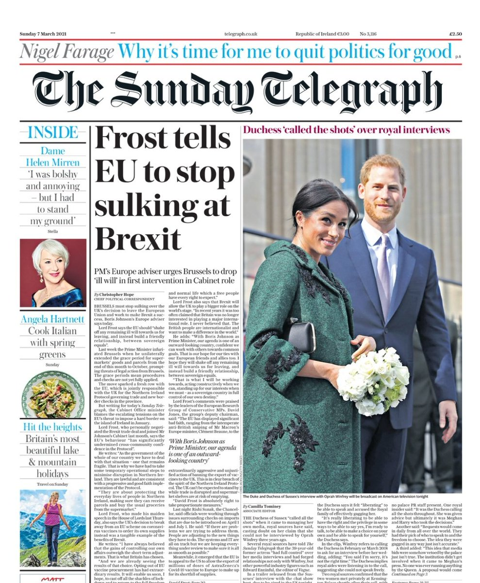 RT @IanDunt: Sunday Telegraph here, loyally transcribing the latest Downing Street-approved lies from a half brain-dead David Frost. I hope its journos get a government pension.