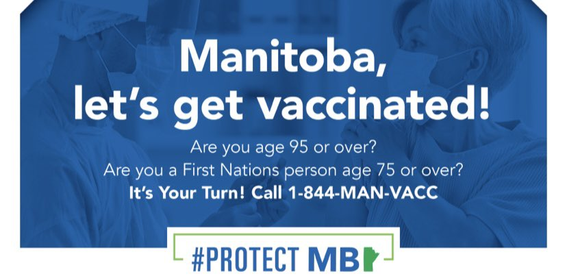 test Twitter Media - Appointments for #COVID19 vaccines are now opening to the general public, starting with Manitobans who are most at risk. All those over the age of 95 and First Nations over the age of 75 are eligible.  Age requirements to book an apt. will be lowered as more people are vaccinated https://t.co/utDLBj1sdD