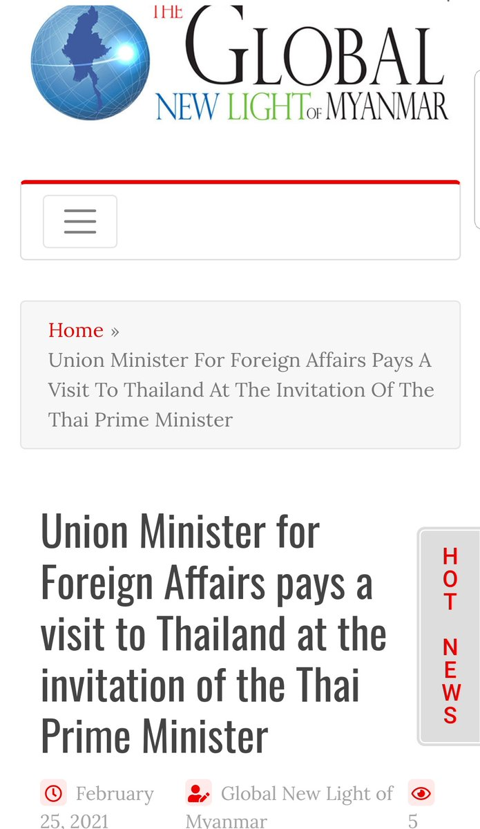 """Interesting #Myanmar's state paper ran a headline & in story that says its Foreign Minister Wunna Maung Lwin visited #Bangkok on Feb 24 at the """"invitation"""" of #Thailand #PM #Prayut. I have confirmed with Thailand foreign ministry Thai PM did no such thing #WhatsHappeningInMyanmar"""