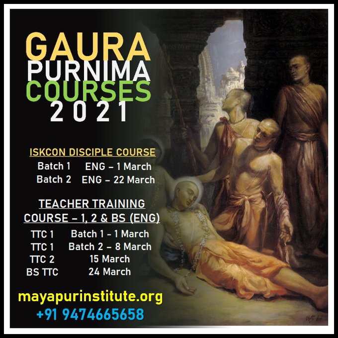 Hare KṛṣṇaPlease find our schedule for Gaura Purnima 2021.We are also glad to inform you t....