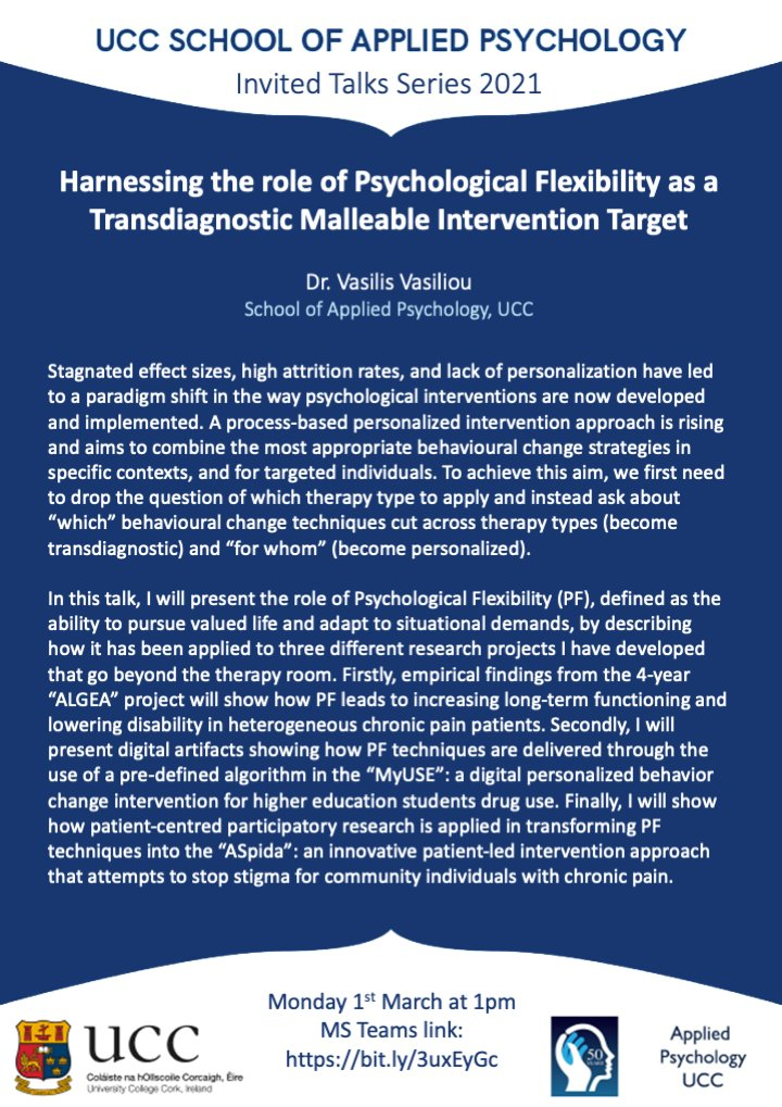 """test Twitter Media - In our research seminar next week, our own Vasilis Vasiliou @vasiliou_vs will summarise years and years of exciting work in his talk """"Harnessing the role of Psychological Flexibility as a Transdiagnostic Malleable Intervention Target."""" All welcome, link: https://t.co/TNizQLtdo4 https://t.co/4MypWWWXOs"""