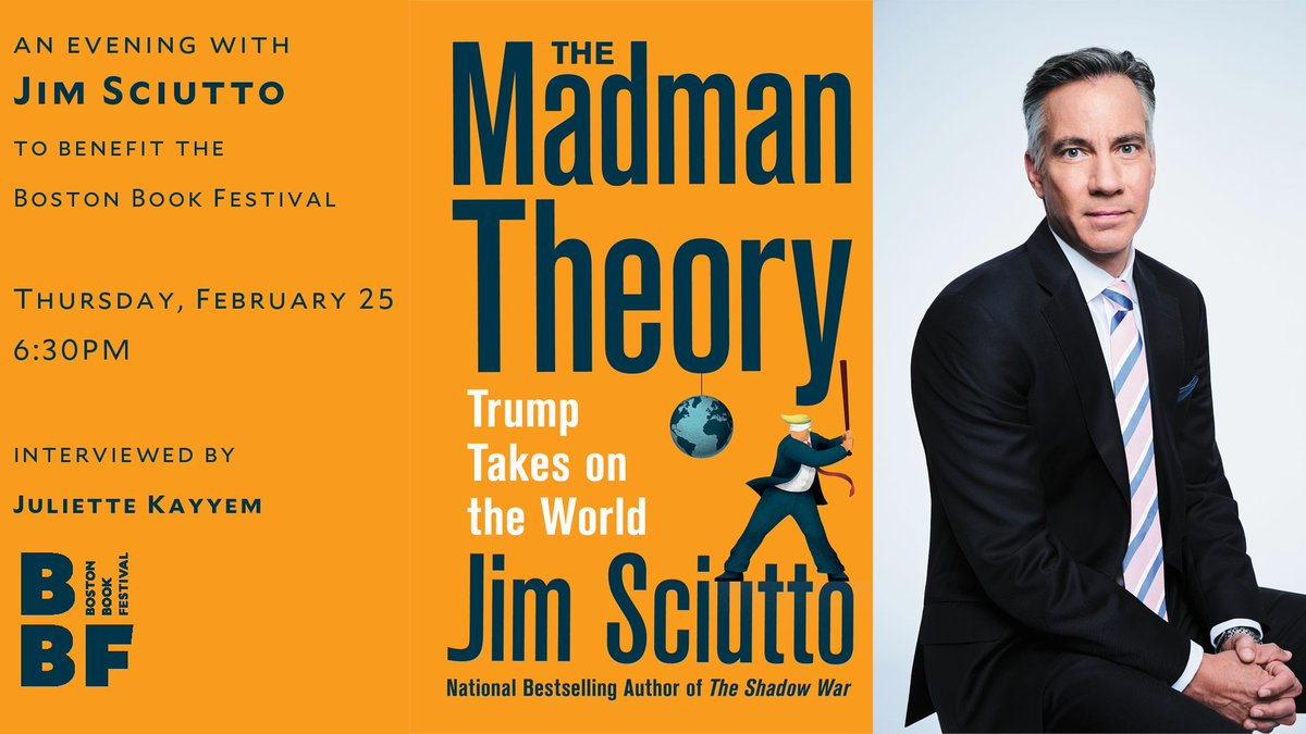Tickets are still available for tonight's conversation with @jimsciutto and @juliettekayyem about Jim's recent book, THE MADMAN THEORY. Sign up today, and we'll see you at 6:30pm ET!