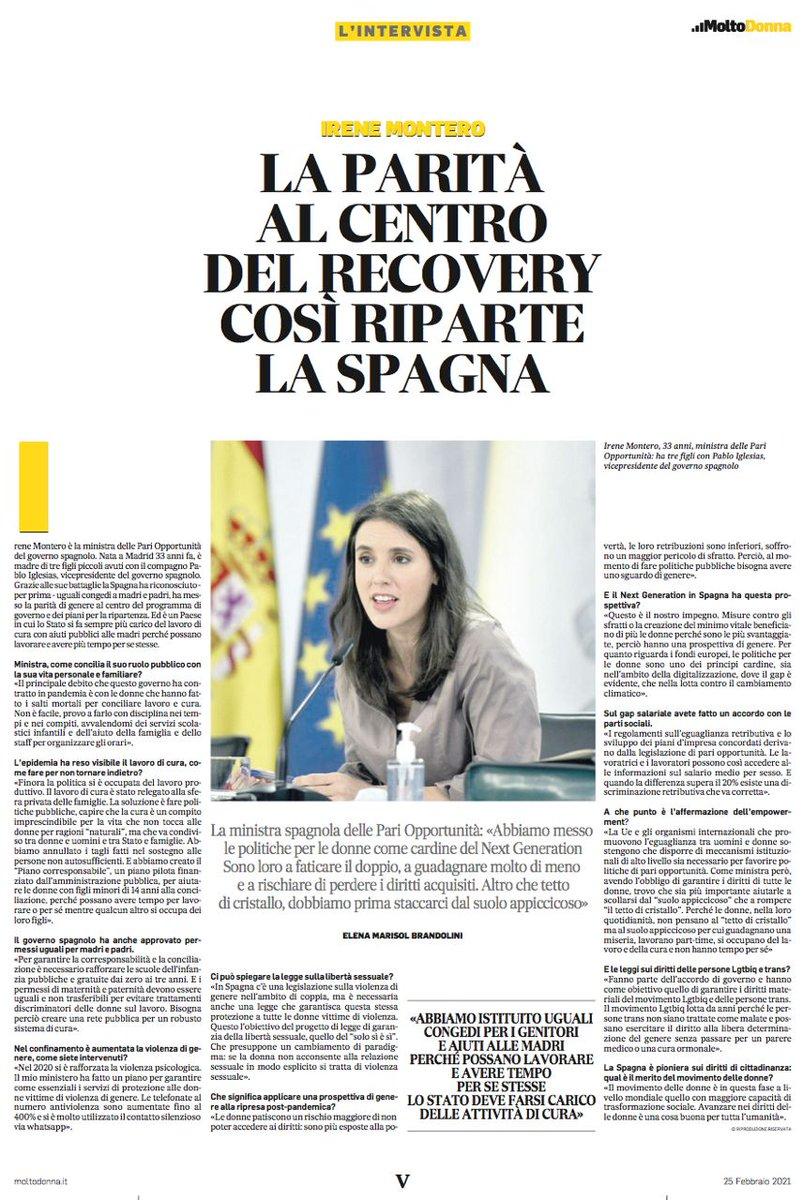 He conversado con @ilmessaggeroit sobre las políticas feministas que estamos impulsando en España.  Nuestro país siempre ha sido ejemplo en Europa en materia de la lucha contra la violencia machista y seguiremos siendo vanguardia con la Ley de Libertad Sexual.