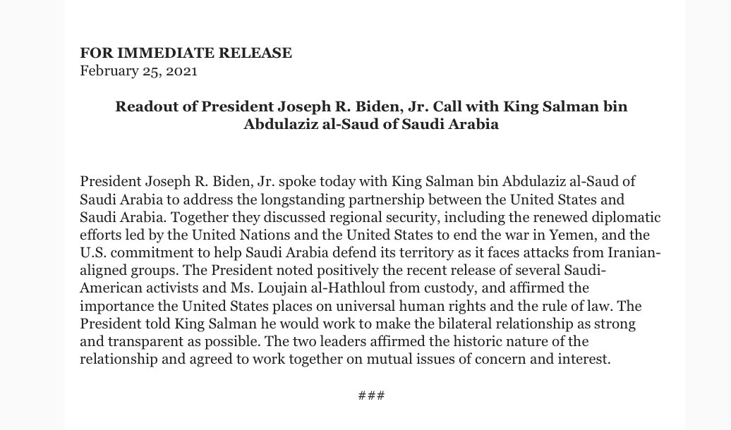 No mention of Jamal Khashoggi in WH readout of Biden call with Saudi King Salman.
