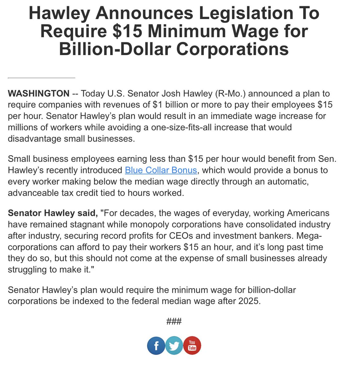 .@HawleyMO Announces Legislation To Require $15 Minimum Wage for Billion-Dollar Corporations