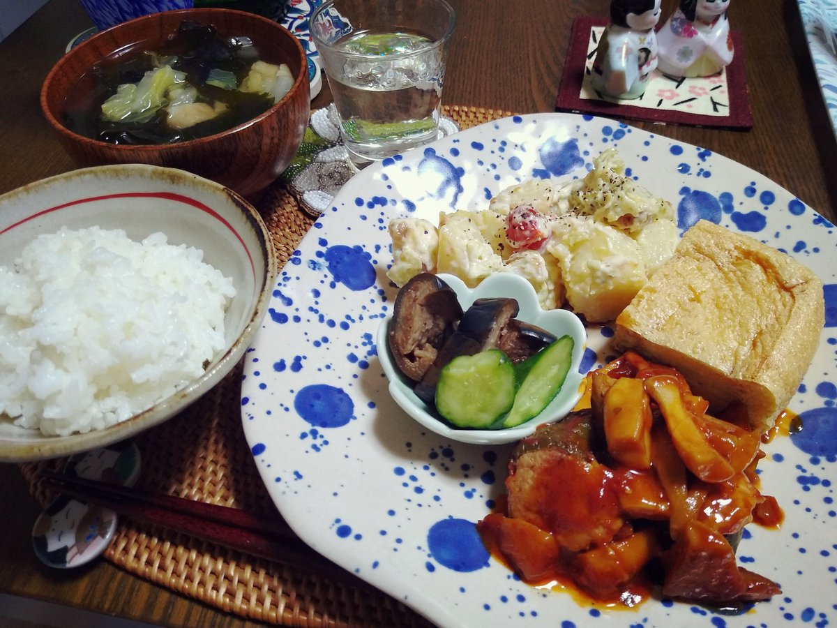 test ツイッターメディア - 本日の食卓🍚 今夜の様なお惣菜アラカルトが私の理想のワンプレート。家族にはもっと量があります。私の分だから少なめ。  惣菜盛り合わせ(ピーマンの肉詰めきのこソース/残り物のちくわの磯辺揚げ入りポテトサラダ/福井県の谷口屋の油揚げ/自家製浅漬け)、お吸物、ななつぼし、佐々木酒造🍶 https://t.co/DWxajMMHJd