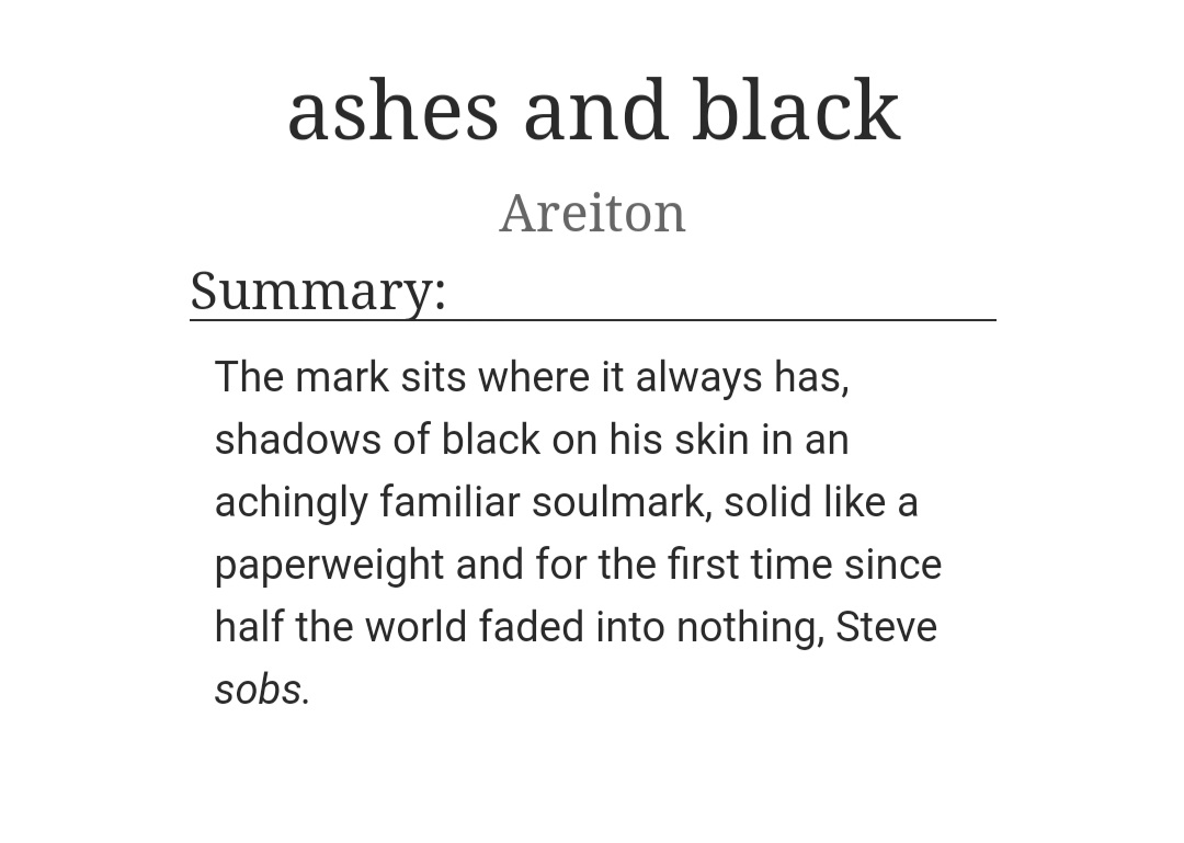 🌟🌟🌟New Fic🌟🌟🌟 ashes & black - stevetony soulmate fic with a very sad Steve.