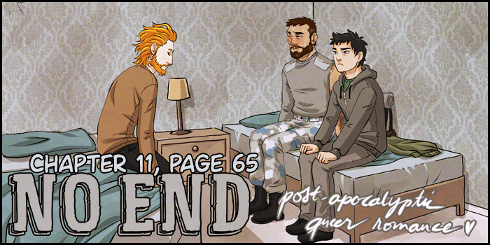 Chapter 11 page 65 is now up!   Help us reach new readers by sharing! 💀🖤 #webcomics #noendcomic #hiveworks