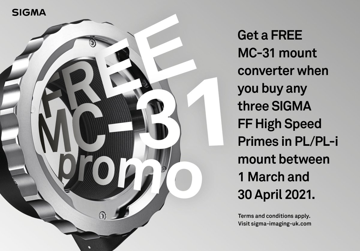 FREE SIGMA MC-31 Mount Converter when you buy 3 or Sigma FF High Speed Primes!