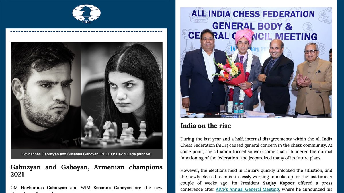 test Twitter Media - We are about to release issue #26 of the FIDE Newsletter.  If you want to receive it directly in your inbox, on alternate Mondays, all you have to do is to register using this link: https://t.co/U4ZNg6HA0w https://t.co/caQfynpl2d