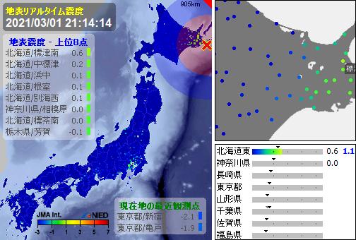 test ツイッターメディア - [緊急地震速報]21:14:16現在 第3報(終) 予報 発生:21:13:15 震源:根室半島南東沖 43.1N 145.7E 70km 規模:M3.5 最大2 予想:0.0 あと217秒 - https://t.co/nYV0H2M2gd