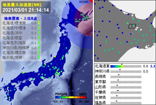 test ツイッターメディア - [緊急地震速報]21:14:14現在 第3報(終) 予報 発生:21:13:15 震源:根室半島南東沖 43.1N 145.7E 70km 規模:M3.5 最大2 予想:0.0 あと162秒 - 確度:- https://t.co/5x1j1GVwZ7