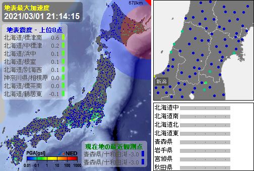 test ツイッターメディア - [緊急地震速報]21:14:13現在 第3報(終) 予報 発生:21:13:15 震源:根室半島南東沖 43.1N 145.7E 70km 規模:M3.5 最大 予想:0.0 あと51秒 - https://t.co/2LyDkaqUxG