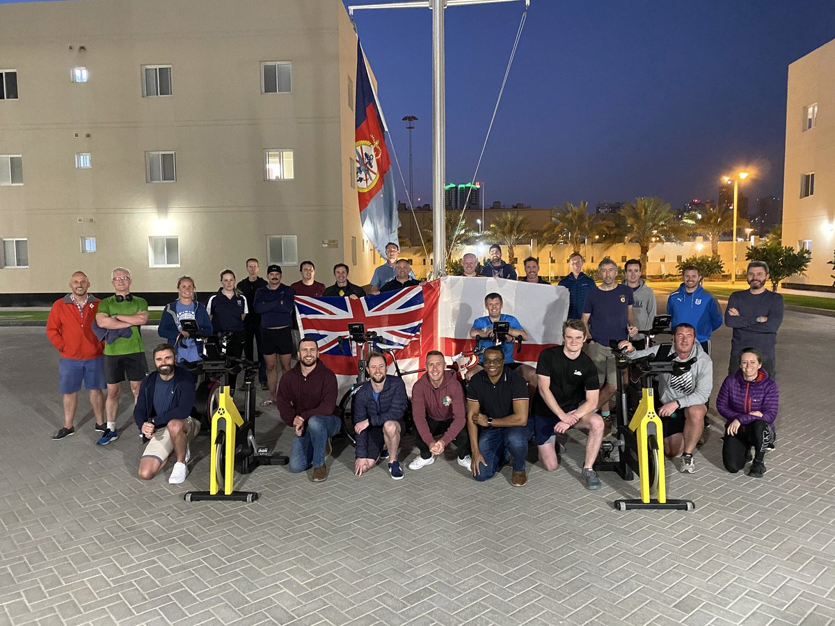 test Twitter Media - 👏 Sailors, marines and troops based @UKMCCMiddleEast hit the cycling machines for a day-long ride to raise 💷for the @RNRMC   Teams were set the challenge of riding the length of Offa's Dyke (which once separated England and Wales): 177 miles (285km).  https://t.co/MQNBiLv4x5 https://t.co/bM3DXHxoEw