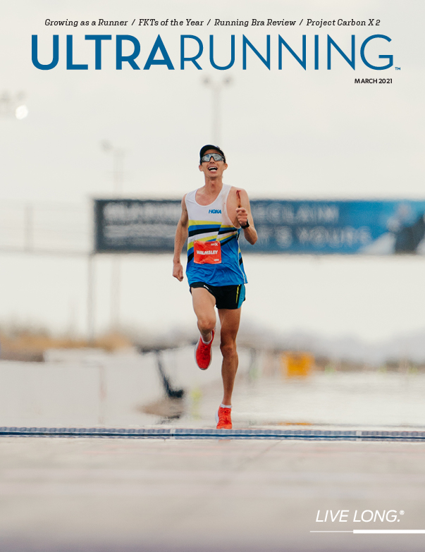 Our March 2021 cover: Jim Walmsley leaves it all on the course as he approaches the finish line of the Project Carbon X 2 100K in Arizona. He finished in 6.09.26, missing the world record by just 12 seconds. [Photo courtesy @HOKAONEONE  ] @walmsleyruns https://t.co/vVlvF55qAh
