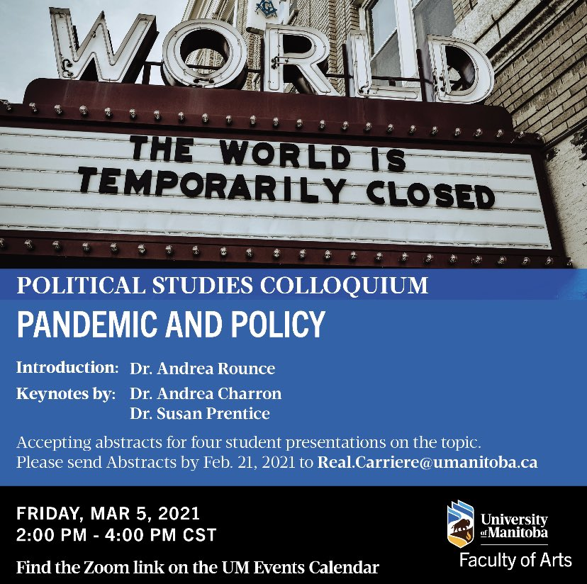 test Twitter Media - A reminder to join us for our upcoming colloquium regarding Pandemic and Policy this Friday. For more information and to find the Zoom link, please visit: https://t.co/laSf6YYjQg #umanitoba #StartAtArts #colloquium #politics #cdnpoli #manitoba #event https://t.co/g5Rt4JMD6v